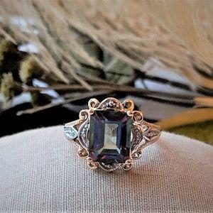Jewelry - Two-Tone 10k Gold Mystic Topaz/Diamond Ring